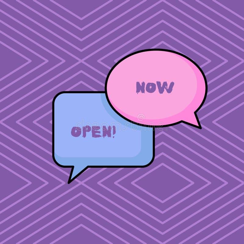 Palavra que escreve o texto agora aberto O conceito do neg?cio para a porta da licen?a ou as janelas n?o fecharam-se ou barraram- ilustração stock