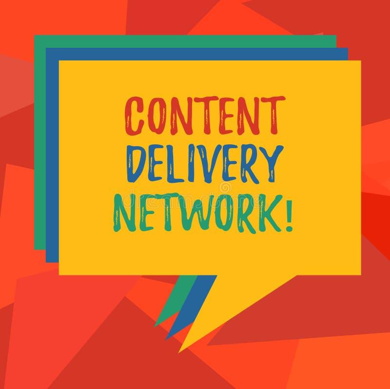 Palavra que escreve o texto Content Delivery Network O conceito do negócio para a rede geograficamente dispersada dos servidores  ilustração stock