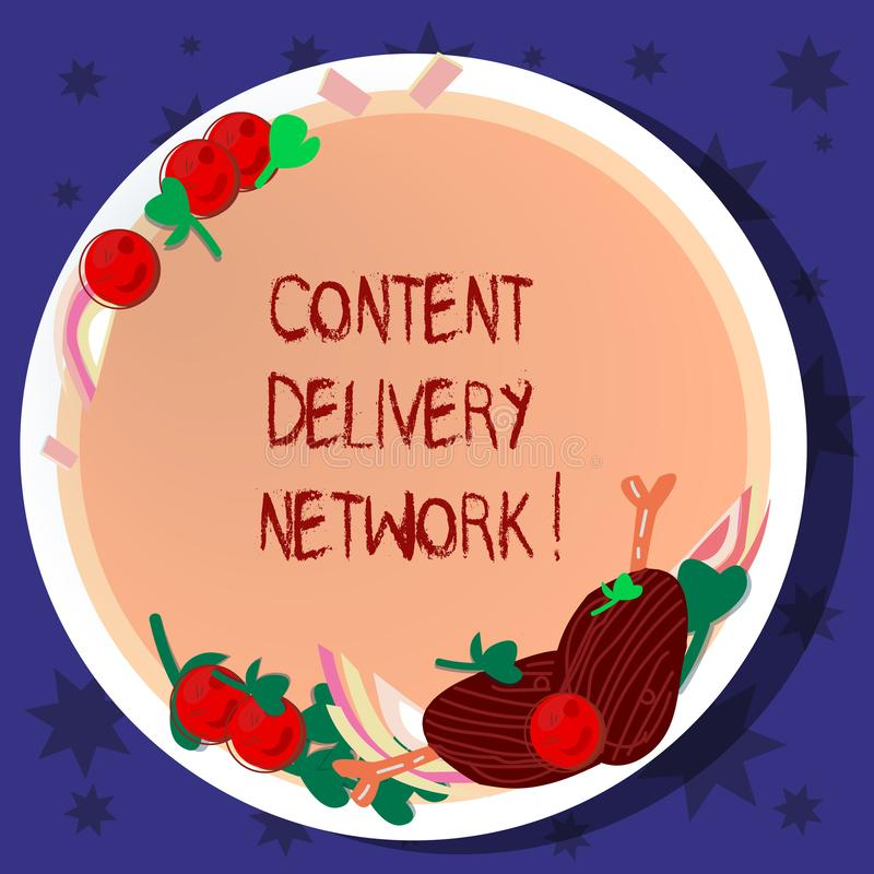 Palavra que escreve o texto Content Delivery Network O conceito do negócio para a rede geograficamente dispersada dos servidores  ilustração royalty free