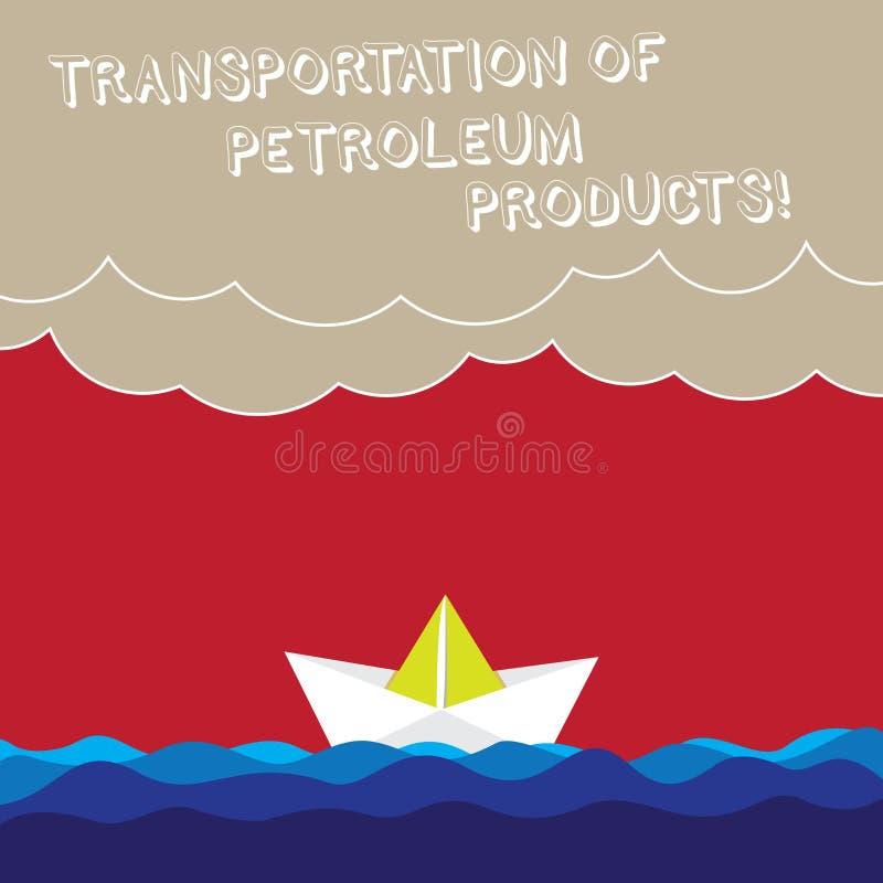 Palavra que escreve o transporte do texto de produtos petrolíferos O conceito do negócio para expedições da indústria de petróleo imagem de stock