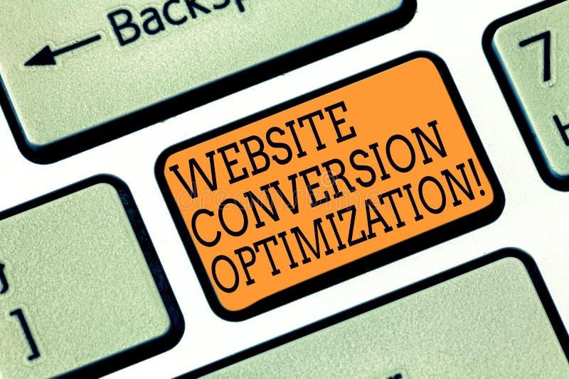 Palavra que escreve a otimização da conversão do Web site do texto Conceito do negócio para o sistema para o teclado crescente do foto de stock royalty free