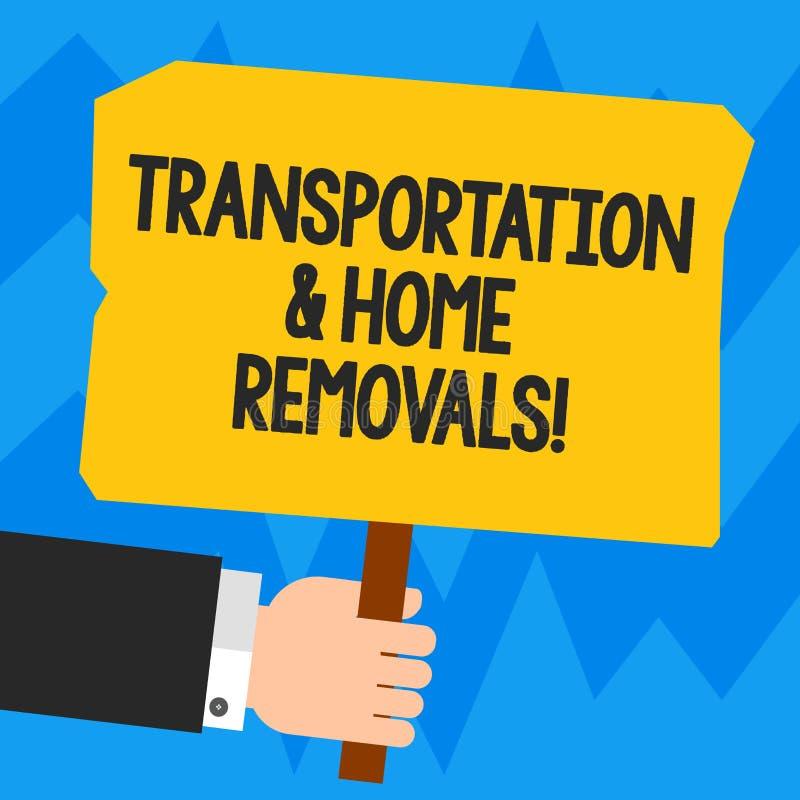 Palavra que escreve remoções do transporte e da casa do texto Conceito do negócio para a análise de envio móvel de Hu da casa nov ilustração stock