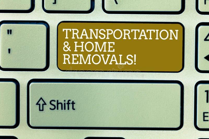 Palavra que escreve remoções do transporte e da casa do texto Conceito do negócio para a chave de teclado de envio móvel da casa  ilustração stock