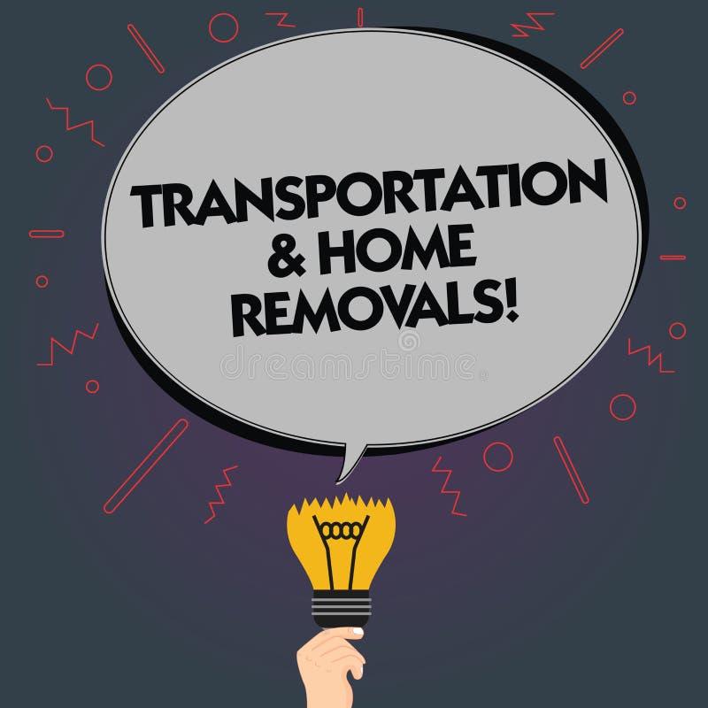 Palavra que escreve remoções do transporte e da casa do texto Conceito do negócio para a cor oval de envio móvel da placa da casa ilustração stock