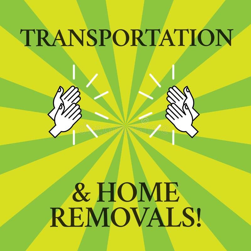 Palavra que escreve remoções do transporte e da casa do texto Conceito do negócio para o desenho de envio móvel da casa nova dos  ilustração stock