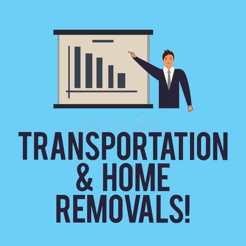 Palavra que escreve remoções do transporte e da casa do texto Conceito do negócio para o homem de envio móvel da casa nova dos pa ilustração stock