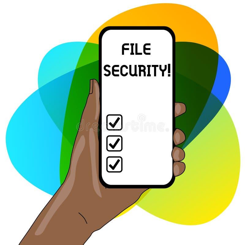 Palavra que escreve a seguran?a de arquivo do texto Conceito do neg?cio para proteger dados digitais tais como aquelas em um banc ilustração do vetor