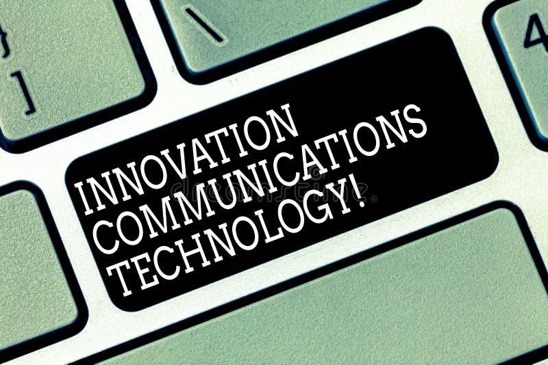 Palavra que escreve a tecnologia das comunicações da inovação do texto Conceito do negócio para a melhoria nos serviços e nos dis foto de stock royalty free
