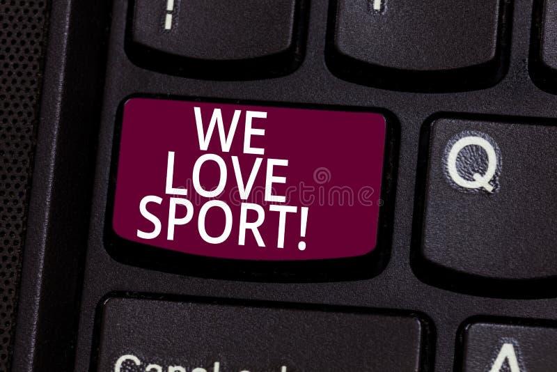 Palavra que escreve a texto nos esporte do amor Conceito do negócio para para gostar muito de praticar atividades atléticas dos e fotos de stock