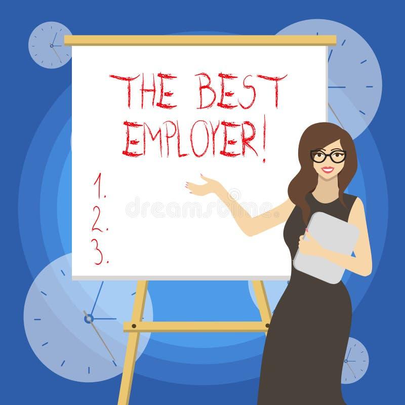 Palavra que escreve a texto o melhor empregador O conceito do negócio para a exibição criada do local de trabalho sente ouvido e  ilustração do vetor
