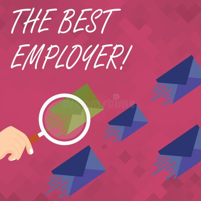 Palavra que escreve a texto o melhor empregador O conceito do negócio para a sensação criada da exibição do local de trabalho ouv ilustração do vetor