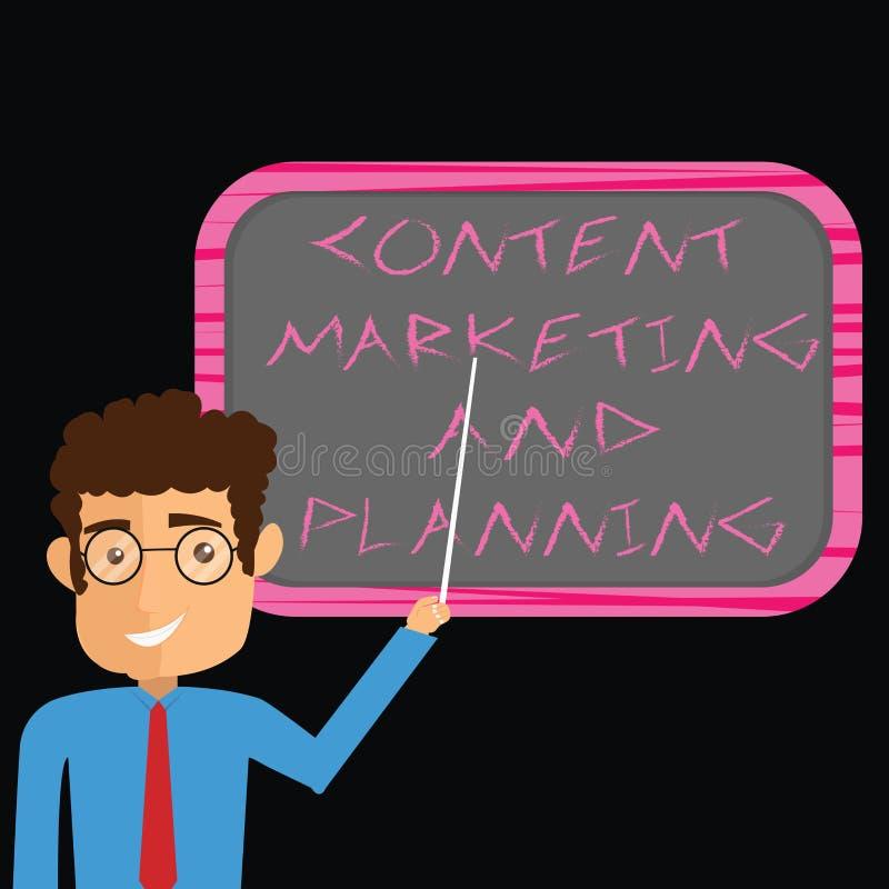 Palavra que escreve a texto o mercado e o planeamento satisfeitos Conceito do negócio para anunciar o homem das estratégias de ot ilustração royalty free