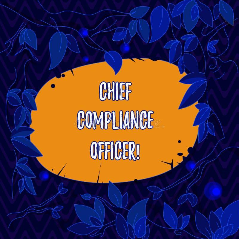 Palavra que escreve a texto o oficial principal da conformidade O conceito do negócio para vigia os ramos de árvore incorporados  ilustração do vetor
