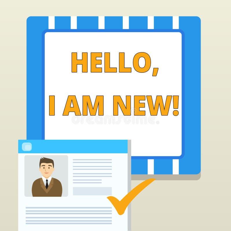 Palavra que escreve a texto ol?! eu sou novo Conceito do negócio para introduzir-se oneself em um grupo como o trabalhador ou o e ilustração stock
