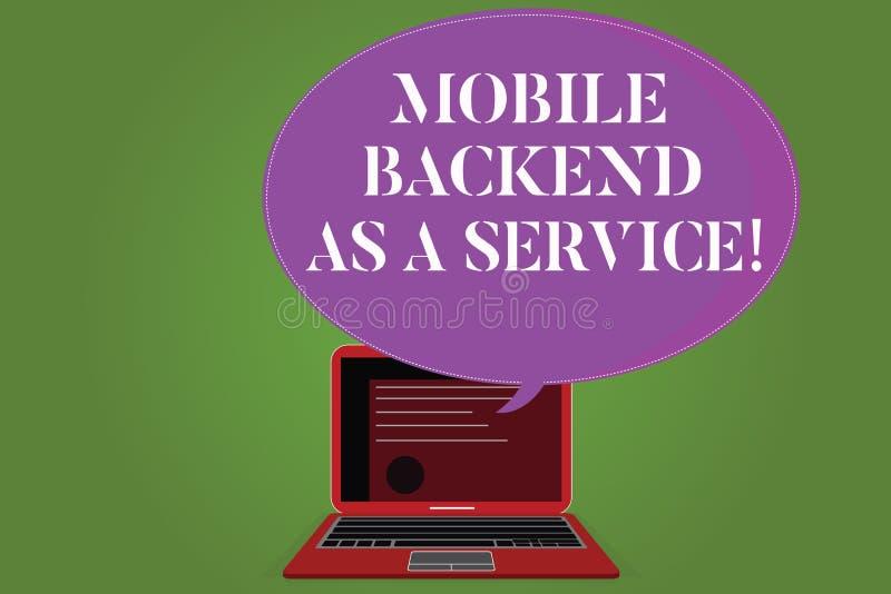 Palavra que escreve a texto a parte posterior móvel como um serviço Conceito do negócio para que a Web da relação de Mbaas e os a ilustração do vetor