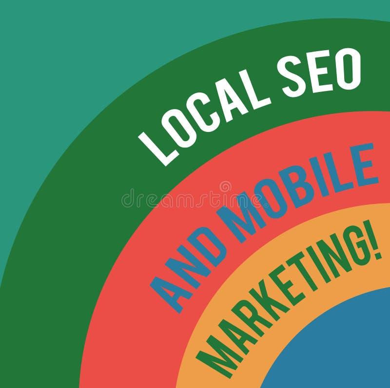 Palavra que escreve a texto Seo And Mobile Marketing local Conceito do negócio para o arco mergulhado promoção de Digitas da otim ilustração royalty free