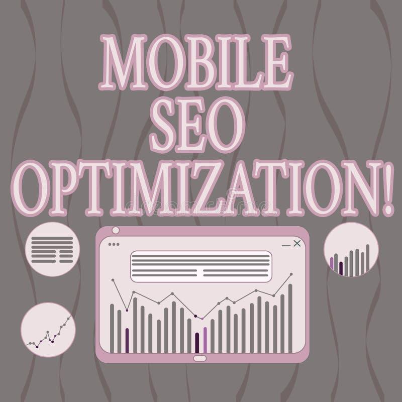 Palavra que escreve a texto Seo Optimization móvel O conceito do negócio para permite um Web site de classificar para a combinaçã ilustração do vetor