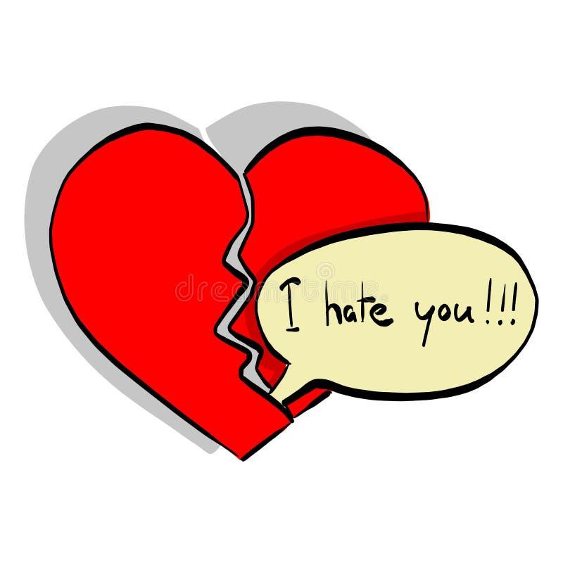 A palavra que eu o odeio faz a mão da garatuja do esboço da ilustração do vetor do coração quebrado tirada com as linhas pretas i ilustração stock