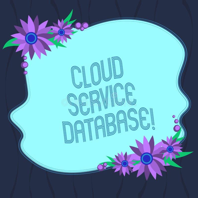 Palavra que redige o banco de dados do serviço da nuvem do texto Conceito do negócio para a placa de computação virtualizada aper ilustração stock