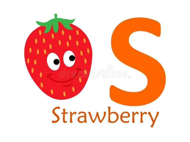 Palavra S do alfabeto S para a morango ilustração royalty free