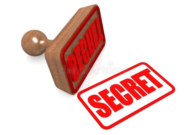 Palavra secreta no selo de madeira ilustração stock