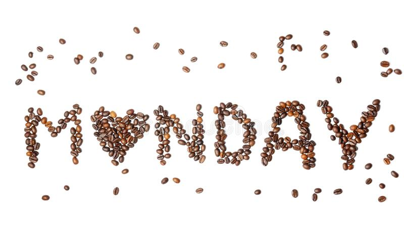 A palavra SEGUNDA-FEIRA fez de feijões de café roasted no fundo branco imagem de stock