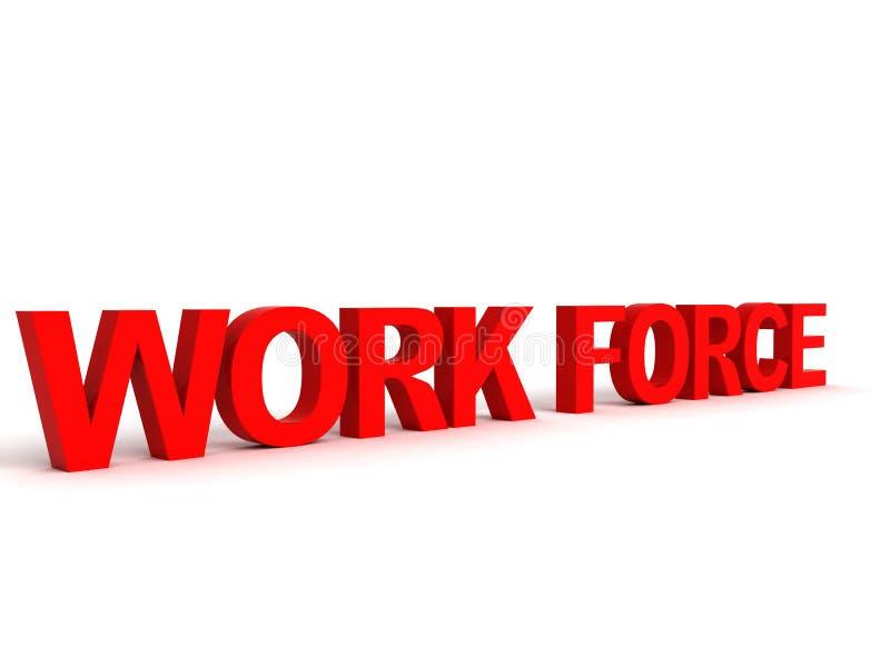 Palavra tridimensional da força de trabalho ilustração do vetor