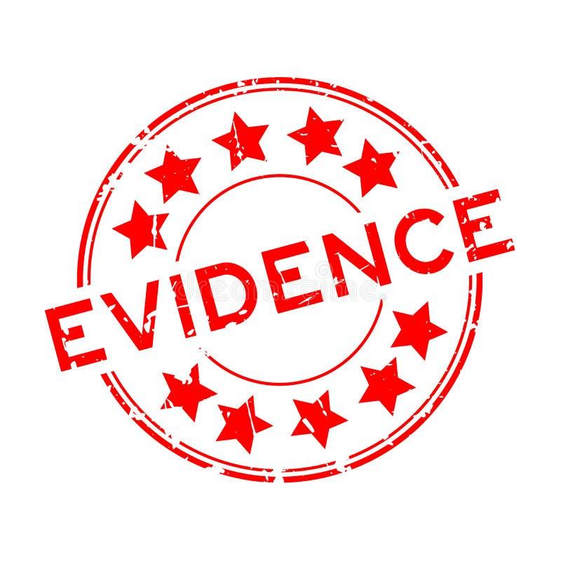 Palavra vermelha da evidência do Grunge com carimbo de borracha redondo do ícone da estrela no fundo branco ilustração do vetor