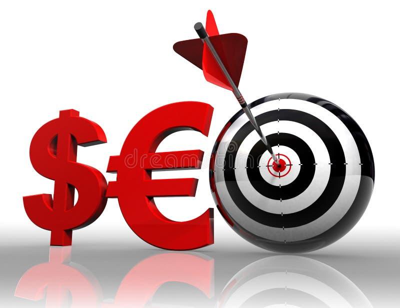 Palavra vermelha de Seo com euro e alvo do dólar ilustração do vetor