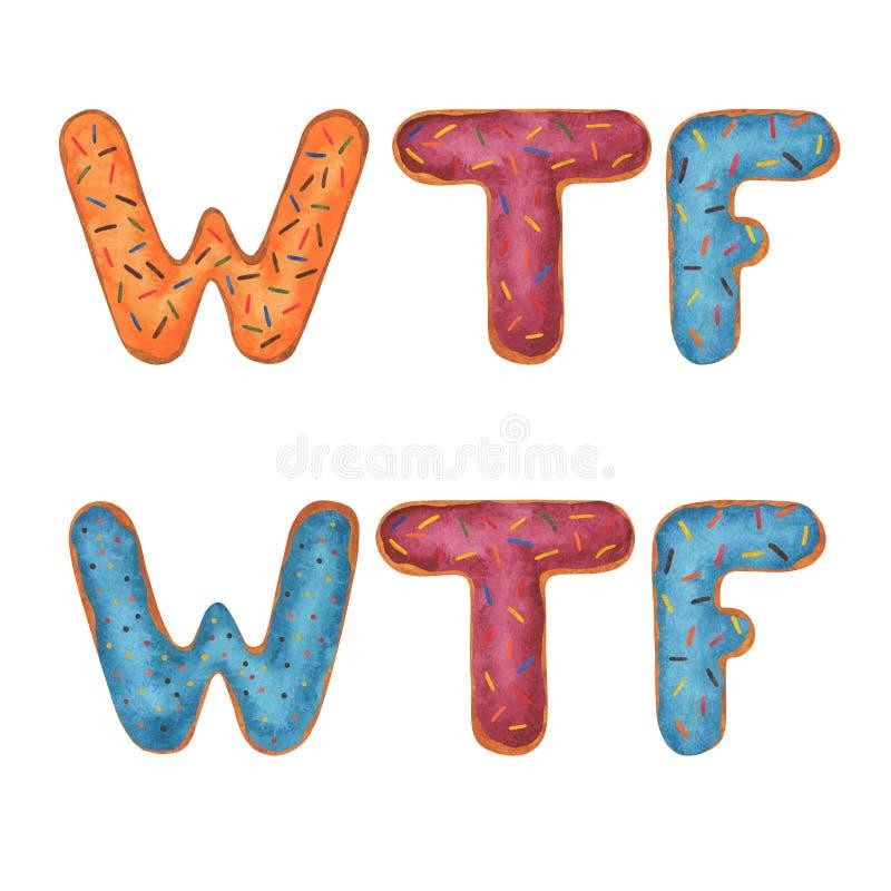 Palavra wow da aquarela   palavra WTF da aquarela ilustração do vetor