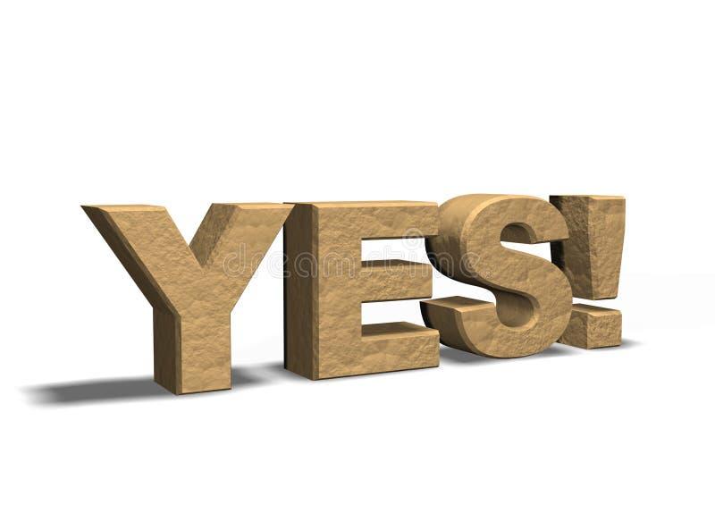 palavra YES do símbolo 3d ilustração stock