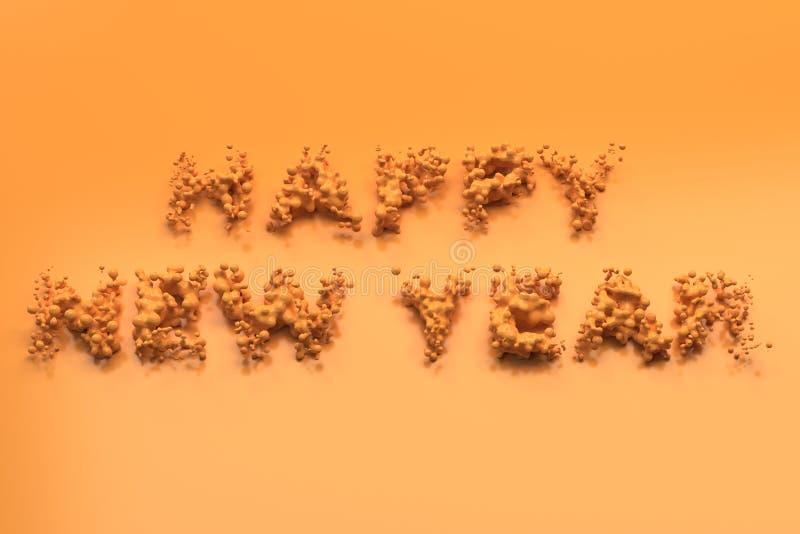 Palavras alaranjadas líquidas do ano novo feliz com gotas no fundo alaranjado ilustração stock