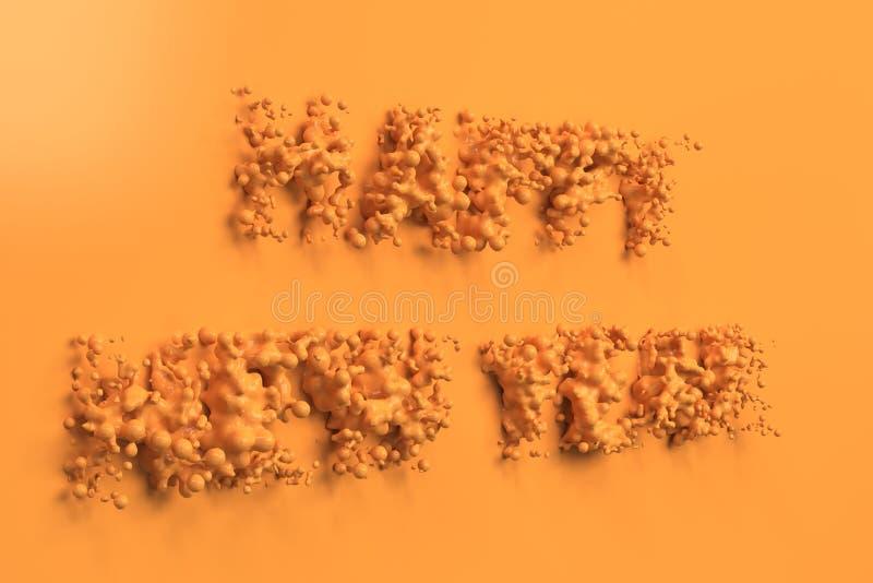 Palavras alaranjadas líquidas do ano novo feliz com gotas no fundo alaranjado ilustração do vetor