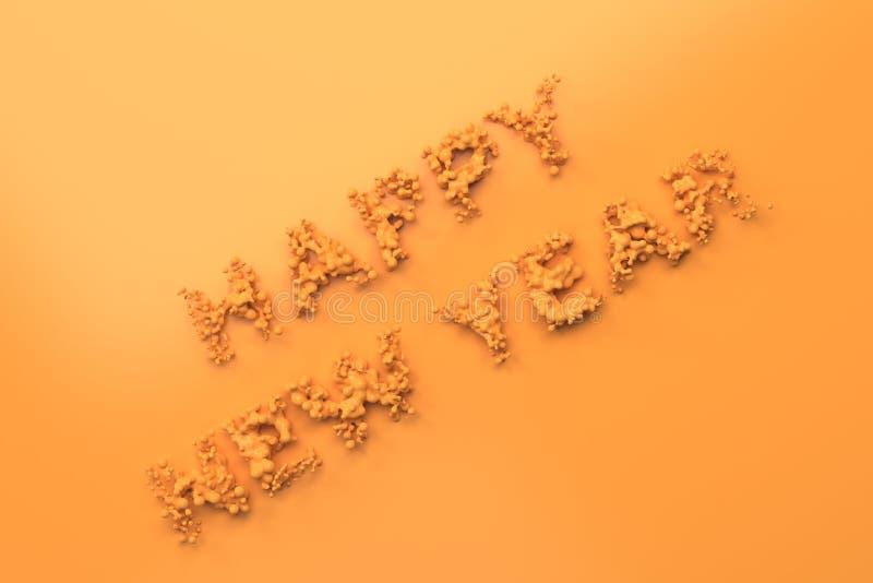Palavras alaranjadas líquidas do ano novo feliz com gotas no fundo alaranjado ilustração royalty free