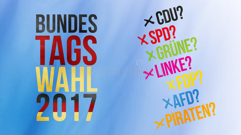 Palavras alemãs para a eleição federal 2017 no ouro e em ger vermelhos pretos foto de stock