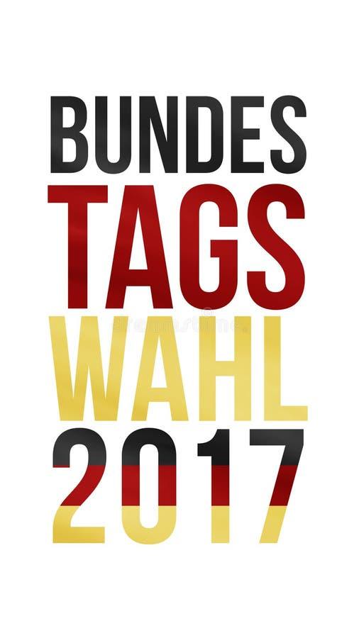 Palavras alemãs para a eleição federal 2017 no ouro vermelho preto imagem de stock