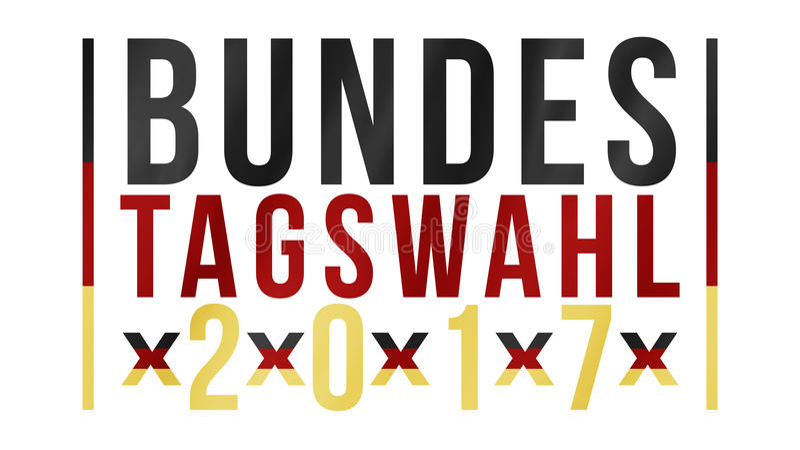 Palavras alemãs para a eleição federal 2017 no ouro vermelho preto imagens de stock royalty free