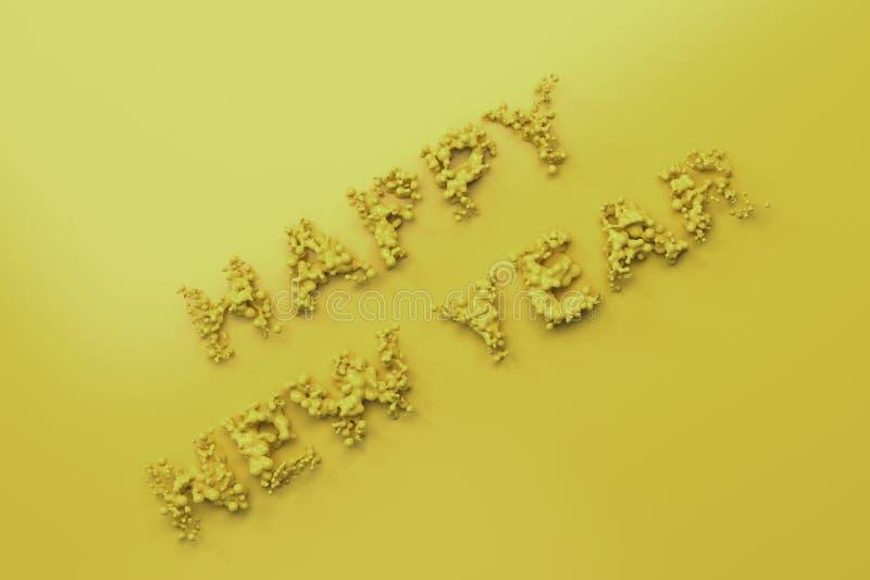 Palavras amarelas líquidas do ano novo feliz com gotas no fundo amarelo ilustração stock