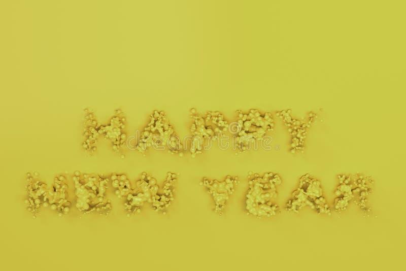 Palavras amarelas líquidas do ano novo feliz com gotas no fundo amarelo ilustração do vetor