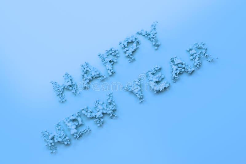 Palavras azuis líquidas do ano novo feliz com gotas no fundo azul ilustração do vetor