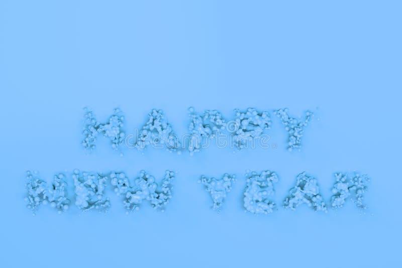 Palavras azuis líquidas do ano novo feliz com gotas no fundo azul ilustração royalty free