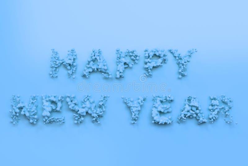 Palavras azuis líquidas do ano novo feliz com gotas no fundo azul ilustração stock