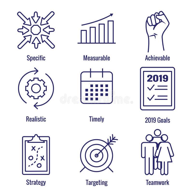 2019 palavras-chaves espertas ESPERTAS do objetivo de w do gráfico de vetor dos objetivos várias ilustração do vetor