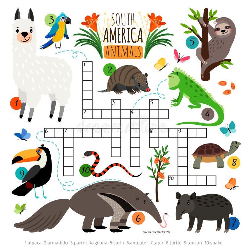 Palavras cruzadas americanas dos animais ilustração royalty free