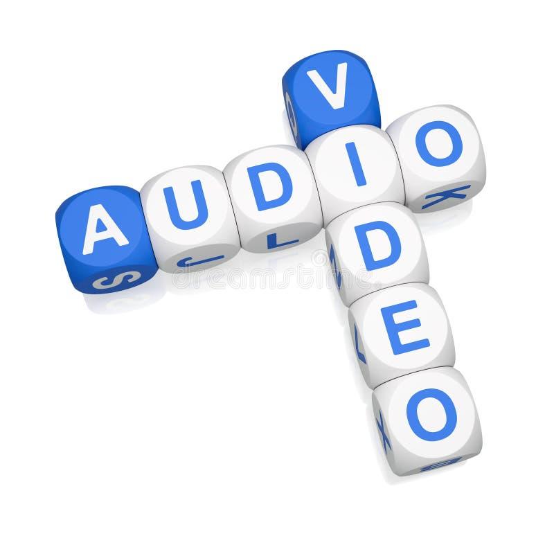 Palavras cruzadas audio do vídeo 3d ilustração do vetor