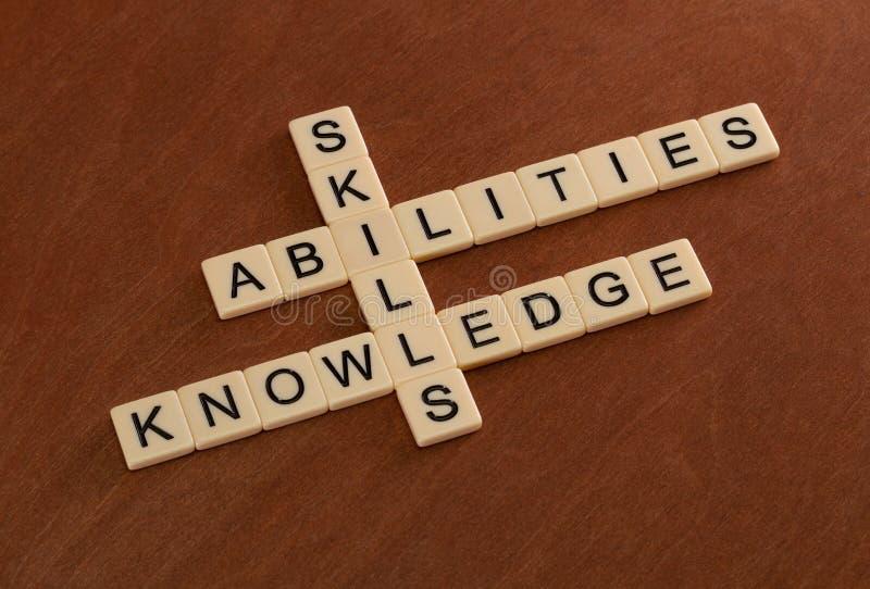 Palavras cruzadas com habilidades das palavras, capacidades, conhecimento Learni imagem de stock