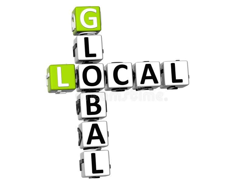 palavras cruzadas 3D globais locais ilustração stock