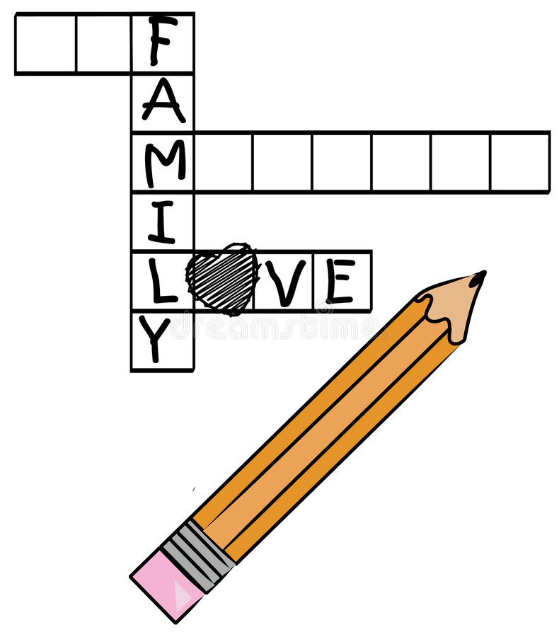 Palavras cruzadas da família ilustração stock