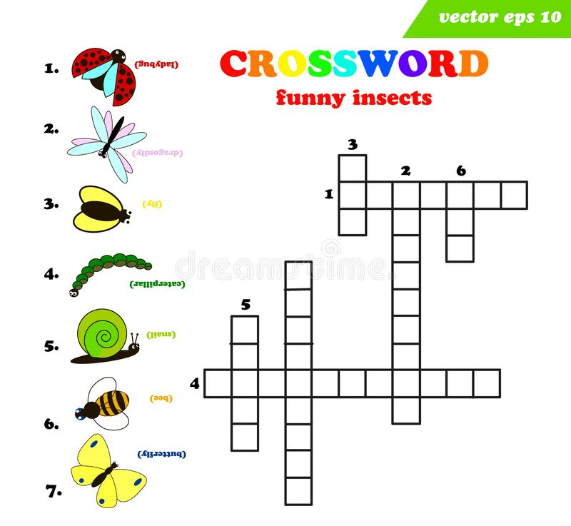 Palavras cruzadas das crianças com os sete insetos engraçados diferentes ilustração do vetor