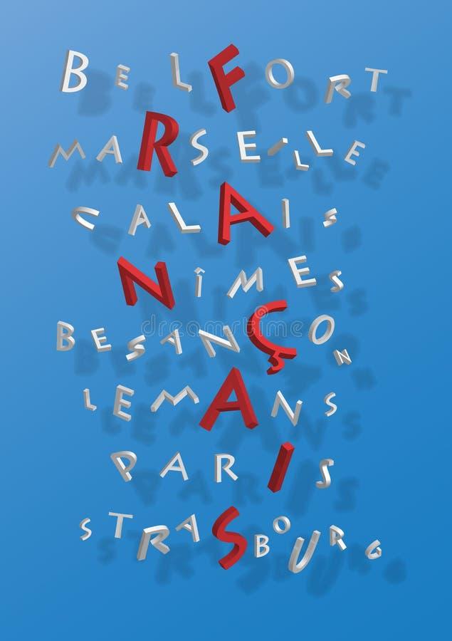 Palavras cruzadas de cidades francesas imagens de stock royalty free